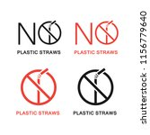 no plastic straws icons set.... | Shutterstock .eps vector #1156779640