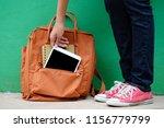 student girl holding digital... | Shutterstock . vector #1156779799