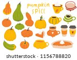 autumn collection of pumpkin... | Shutterstock .eps vector #1156788820