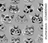 seamless pattern with cute cats ... | Shutterstock .eps vector #1156800460