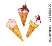 set of ice cream cones isolated ... | Shutterstock . vector #1156803100