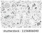 hand drawn food set doodle... | Shutterstock .eps vector #1156806040