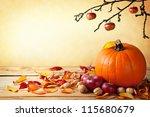 Autumn Pumpkin Composition On...