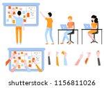 scrum planning of teamwork on... | Shutterstock .eps vector #1156811026