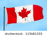 Canadian Flag Waving In The...