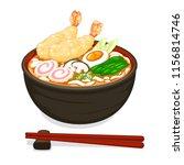 tempura shrimp ramen noodles...   Shutterstock .eps vector #1156814746