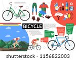 flat bicycle infographic... | Shutterstock .eps vector #1156822003