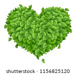 heart of green leaves on a... | Shutterstock .eps vector #1156825120