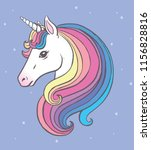 cute unicorn portrait with... | Shutterstock .eps vector #1156828816