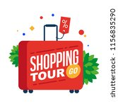 shopping tour. red suitcase... | Shutterstock .eps vector #1156835290