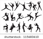 shape  silhouette dancers  | Shutterstock .eps vector #115683610