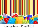 illustration of different shopping bag on colorful striped background - stock vector