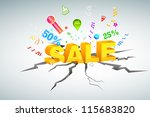 illustration of bumper sale coming out of floor - stock vector