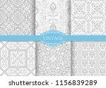 set of vintage seamless damask... | Shutterstock .eps vector #1156839289
