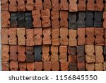 red and black brick stacks ... | Shutterstock . vector #1156845550