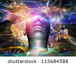 Android Dream series. Background composition of  human model, numbers and design elements to complement your layouts on the subject of science, information and modern technology - stock photo