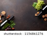 wine  cheese  grape and nuts....   Shutterstock . vector #1156861276