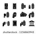 nfc payment glyph icons set....   Shutterstock .eps vector #1156863943