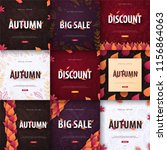 set of autumn backgrounds with... | Shutterstock .eps vector #1156864063