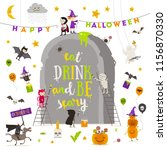 halloween vector illustration.... | Shutterstock .eps vector #1156870330