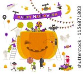 halloween vector illustration.... | Shutterstock .eps vector #1156871803