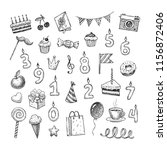 set of hand drawn birthday... | Shutterstock .eps vector #1156872406