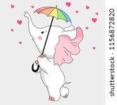 cute white elephant hand drawn... | Shutterstock .eps vector #1156872820
