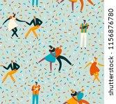 dancing couples in 50s retro... | Shutterstock .eps vector #1156876780