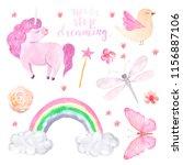 watercolor cute set of unicorn  ...   Shutterstock . vector #1156887106