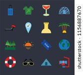 set of 16 icons such as snorkel ...