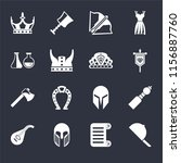 set of 16 icons such as hat ...