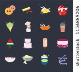 set of 16 icons such as sweet ...