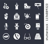 set of 16 icons such as blocks  ...
