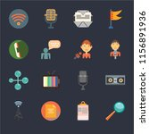 set of 16 icons such as search...