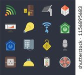 set of 16 icons such as fan ...
