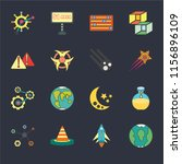 set of 16 icons such as planet...