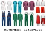 set of overalls with worker and ... | Shutterstock .eps vector #1156896796