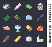 set of 16 icons such as dairy ...