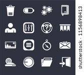 set of 16 icons such as exit ...