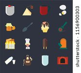 set of 16 icons such as oven ...