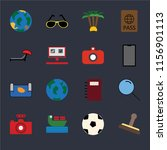 set of 16 icons such as stamp ...