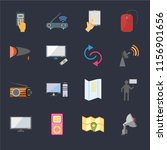 set of 16 icons such as radio...