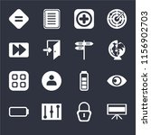 set of 16 icons such as...