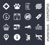 set of 16 icons such as hidden  ...