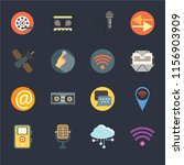 set of 16 icons such as wifi ...