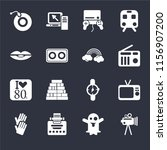 set of 16 icons such as film ...