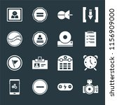 set of 16 icons such as photo...