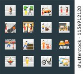 set of 16 icons such as public...