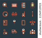 set of 16 icons such as judging ...