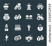 set of 16 icons such as grain ...